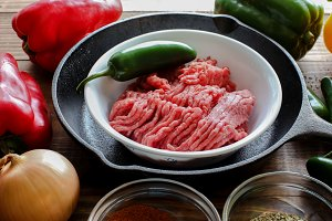 Raw ground beef inside skillet with