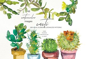 Watercolor Potted Cactus Clip Art