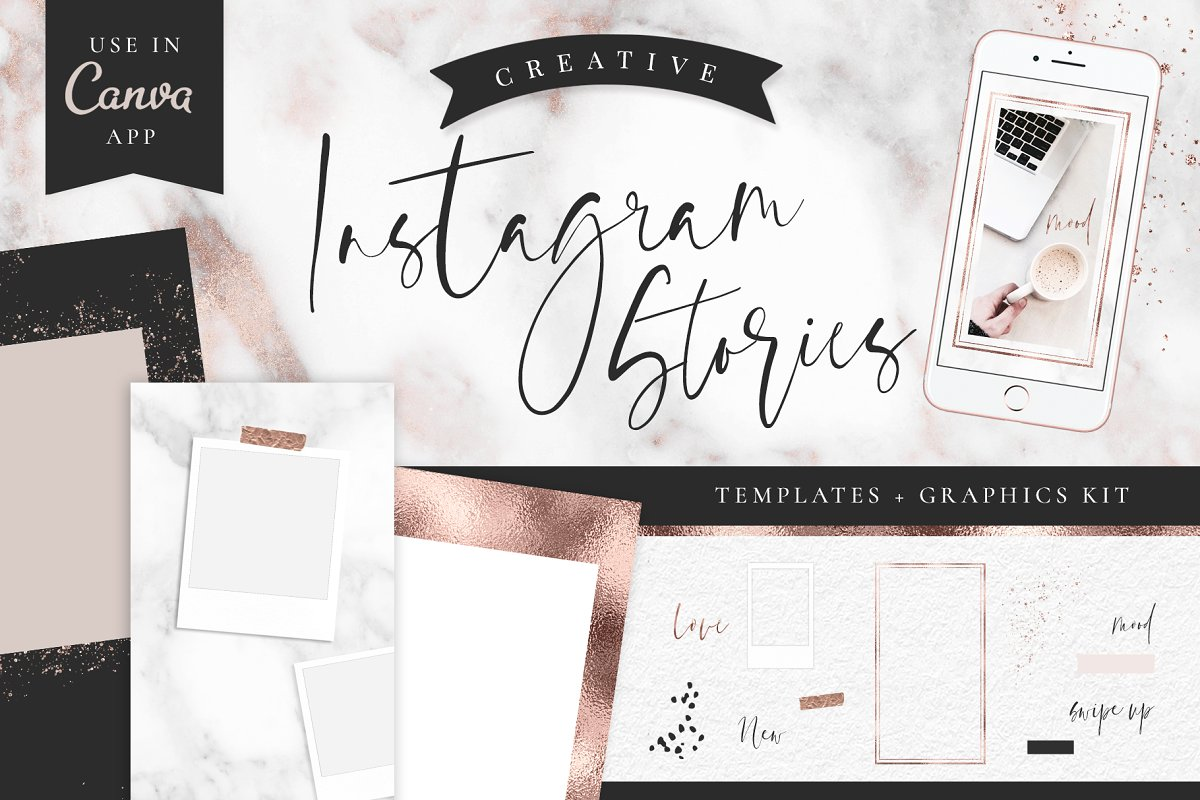 Instagram Stories - Rose Gold Marble ~ Instagram Templates