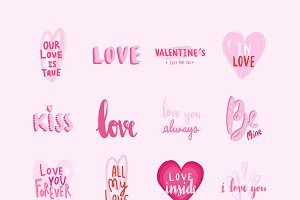 Set of valentines day typographies
