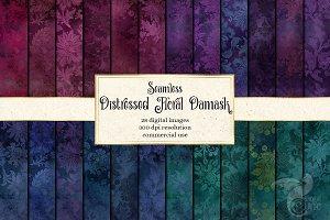 Distressed Floral Damask Patterns