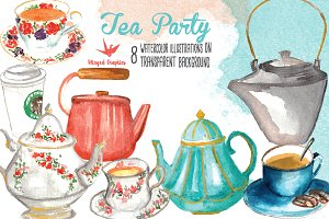 Tea Party Watercolor Illustrations