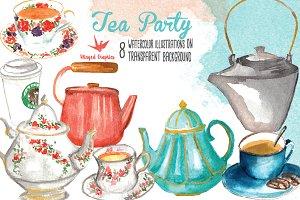 Tea Party Watercolor Illustrations