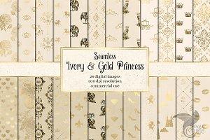 Ivory & Gold Princess Digital Paper