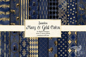 Navy and Gold Circus Digital Paper