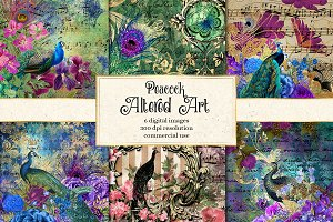 Peacock Altered Art Backgrounds