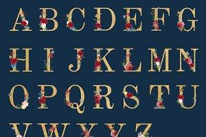 Botanical alphabet illustration