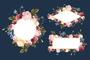 Set of floral card templates