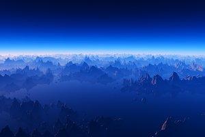 Moon mountain valley at night 3d ren