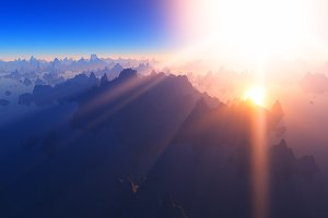 God rays at mountain valley 3d rende