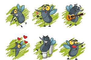 Illustration Of Cartoon Mosquitoes