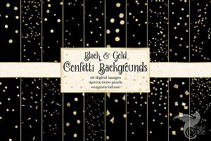 Black and Gold Confetti Backgrounds