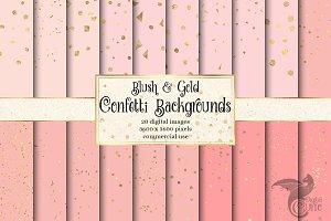Blush & Gold Confetti Digital Paper