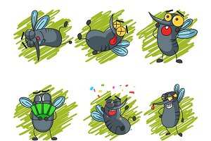 Cartoon Mosquitoes Set
