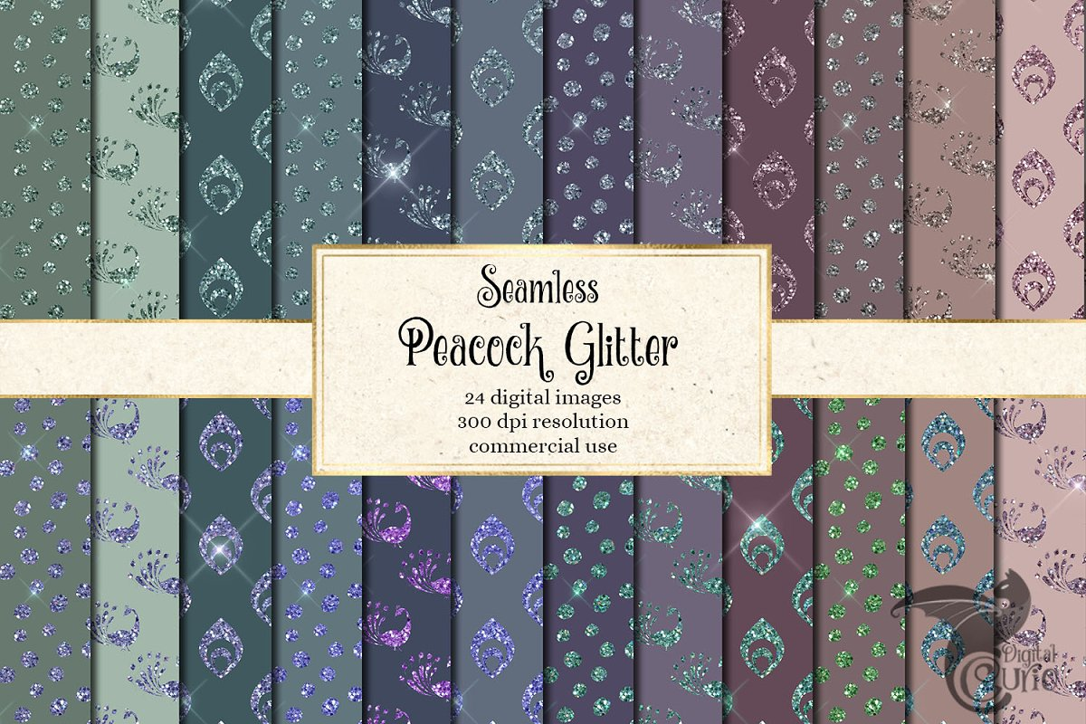 Peacock Glitter Digital Paper in Patterns - product preview 8