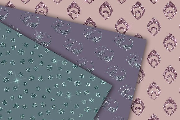 Peacock Glitter Digital Paper in Patterns - product preview 1