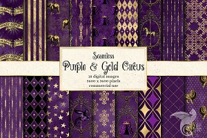 Purple and Gold Circus Digital Paper