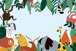 Animals template vector illustration