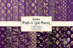 Purple & Gold Peacock Digital Paper