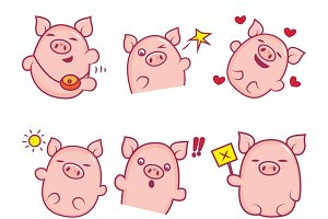 Illustration Of Cute Pig Set