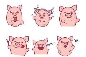 Illustration Of Cute Cartoon Pig Set