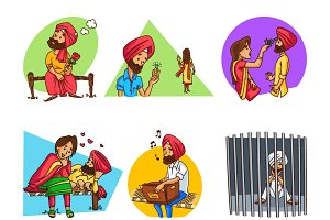 Illustration Of Cute Punjabi Couple