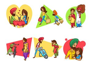 Cute Illustration Of Punjabi Couple