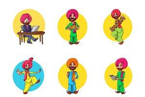 Cartoon Illustration Of Punjabi Man