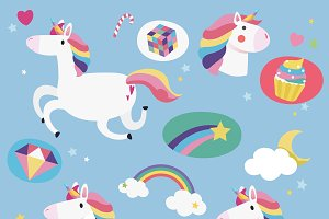 Cute unicorns with magical elements