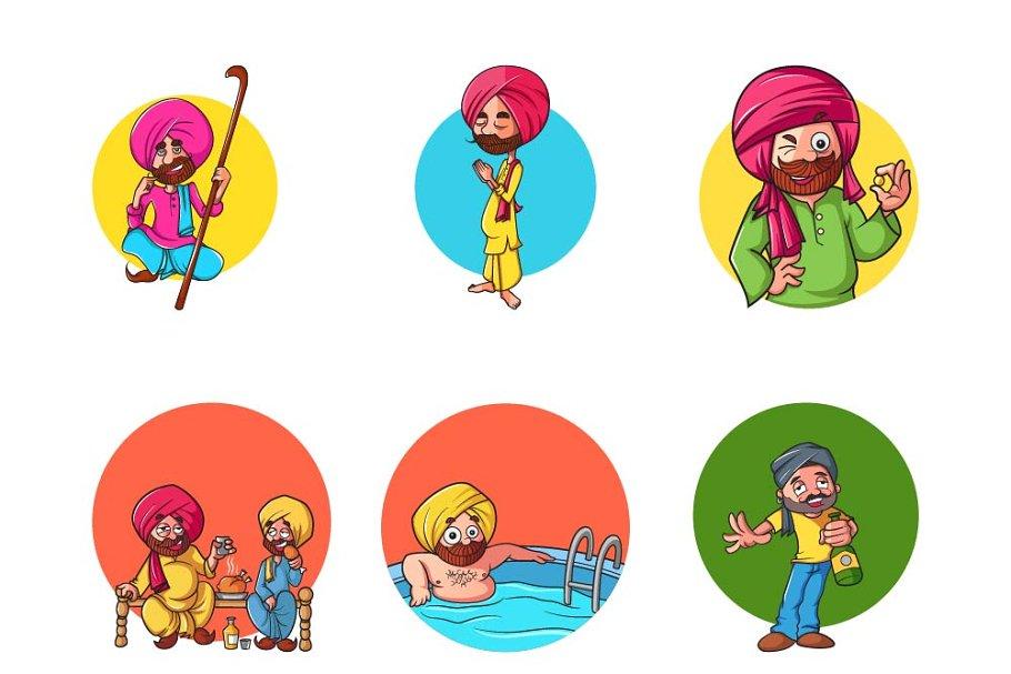 Cartoon Illustration Of Punjabi Man Pre Designed Illustrator Graphics Creative Market