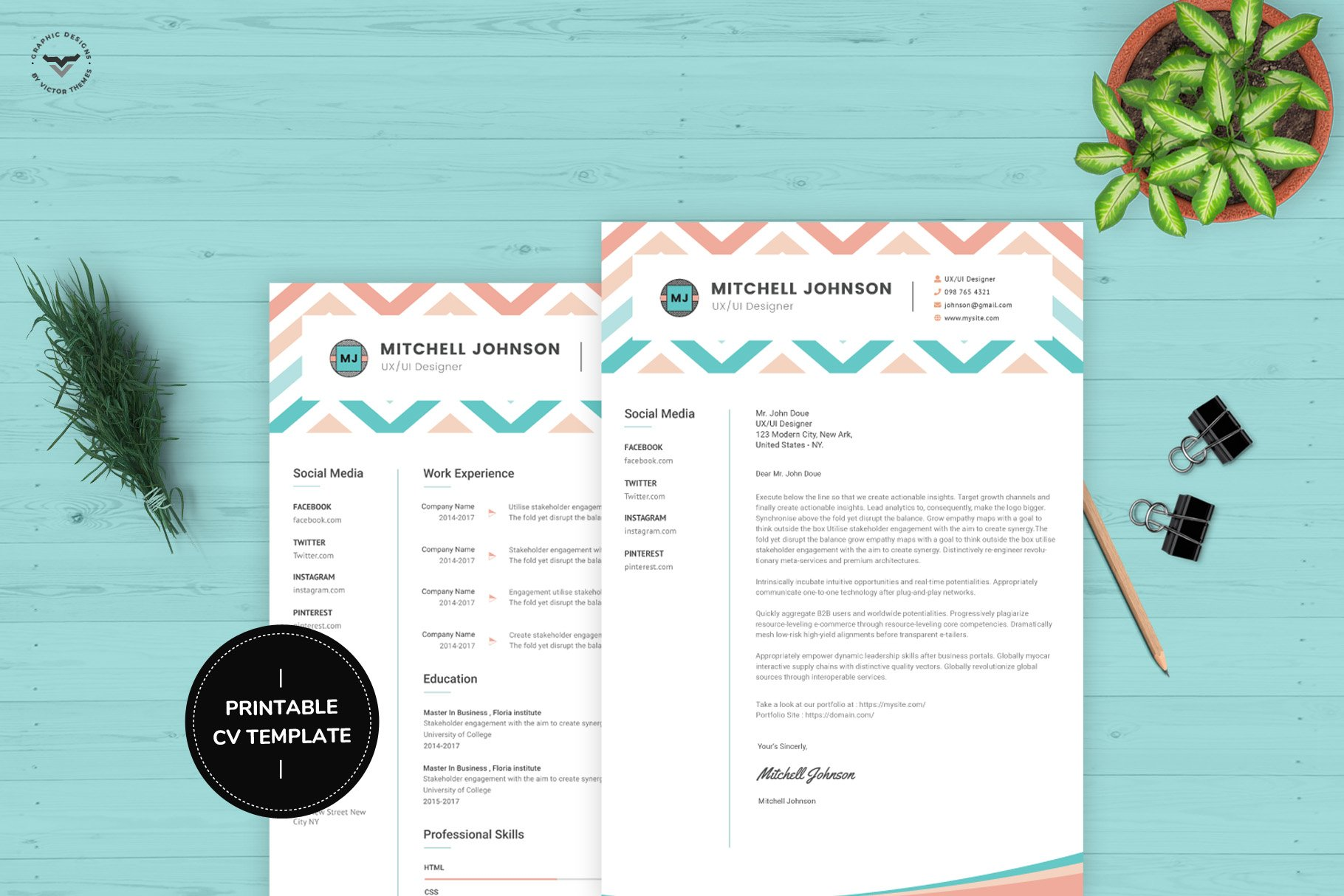 Ui Ux Designer Cv Template Creative Illustrator Templates