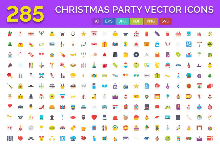 285 Christmas Party Vector Icons