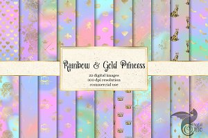 Rainbow & Gold Princess Backgrounds