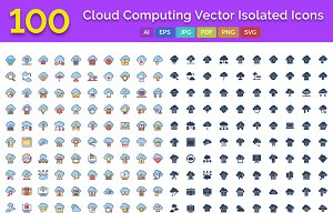 100 Cloud Computing Vector Isolated