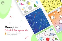 Memphis Colorful Pattern Backgrounds by  in Graphics