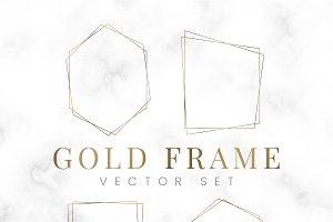 Golden blank polygon frame vector
