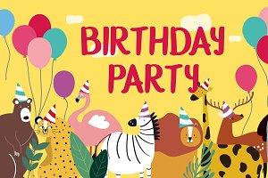 Animal theme happy birthday card