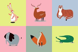 Collection of cute wild animals