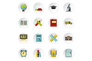 School icons set, flat style