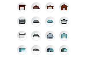 Warehouse icons set, flat style