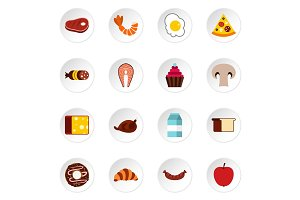 Food icons set, flat style