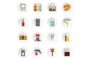 Artist studio icons set, flat style