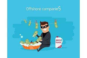 Offshore Companies Concept Flat