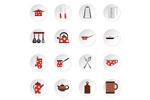 Kitchen utensil icons set, flat