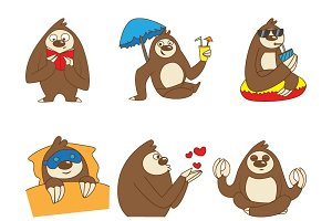 Illustration Of Cartoon Sloth Set