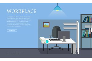 Workplace Concept Vector Web Banner