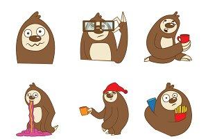 Cartoon Sloth Illustration Set