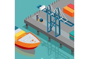 Cargo Port Illustration in Isometric