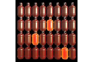 Propane gas cylinders isolated on