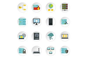 Database icons set, flat style
